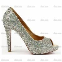 2014 fashion women rhinestone leather waterproof shoes rhinestone crystal bridal wedding dress bridesmaid prom princess shoes