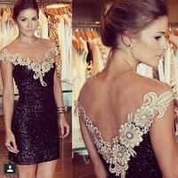 2014 Casual Sexy Slim Black Dress Sequins Lace Gauze Patchwork Vestidos Vestido De Renda Free Shipping