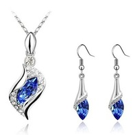 Necklace Earrings Silver Plated Crystal Fashion Jewelry Set  Bridal Wedding Prom 64160-64161-64162-64163-64164
