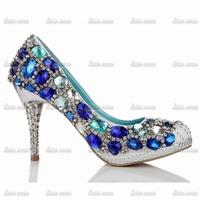 Wholesale/Retail Rhinestone Custom Handmade Womens Crystal Pump Heels Black Leather Sweet Solid Drilex Madden Black Heels Shoes