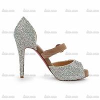 2014 fashion women Colorful wedding shoes princess party dress Red Bottom shoes ladies Handmade Diamond High Heels Crystal Shoes