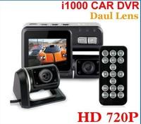 Car DVR Dual Lens camera i1000 720P dash cam with rear cam vehicle view dashboard cameras free shipping