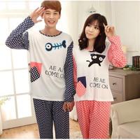 2014 New Spring Autumn Women's cute Sweet Pajamas Sets Long Sleeve Sleepwear Cartoon Nightwear Home Clothes sleep & lounge