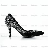Free Shipping!! Cheap Crystal Lady Spring Pumps Closed Toe Rhinestone Pvc Wedding Mesh Rhinestone Red Bottom High Heels Shoes