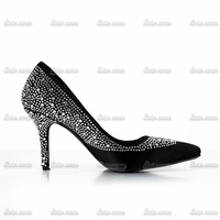 New spring fashion Handmade small pointed diamond openwork leather matte leather shoes fine heel women Rhinestone Wedding shoes