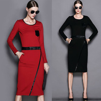 2014 autumn new arrival fashion long sleeve winter dress patchwork slim fit women dress casual office bandage bodycon dress b22