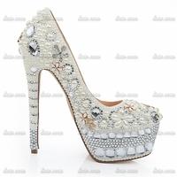 2015 Brand New Fashion Rhinestone Custom Handmade Crystal Wedding Pumps Shoes Bridal Shoes Leather Solid Punk Suede Women Pumps