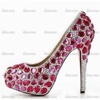 34-40 2015 Woman Rhinestone Custom Handmade Crystal Wedding Pumps Spring Red 16 Women Fashion Strap Red Bottom High Heels Shoes