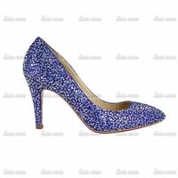 2015 New blue Handmade Diamond drill encryption Czech pointed Crystal Pumps shoes heels crystal rhinestone pump wedding shoe
