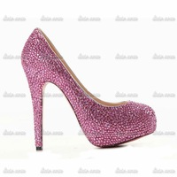 2014 New luxury noble red rose fine with thick rhinestone low water table high-heeled shoes Red Bottom Handmade Diamond shoes