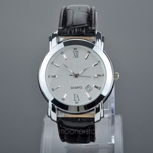 Waterproof Alloy Quartz Wrist Watch with PU Leather Band & Calendar for Men M*MPJ584#A3