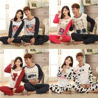 cat and fish lovely bear with dot print long-sleeve pajamas set cotton sleepwear for lovers fashion cartoon print sleepwear