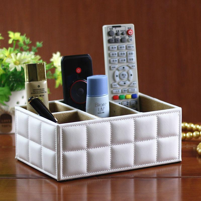 APS new leather storage 4-slot wood leather table storage box mobile phone remote cosmetics box case holder organizer(China (Mainland))