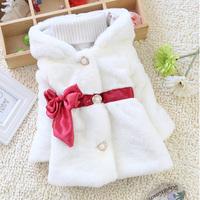 High quality 1pcs winter fashion faux fur Outerwear coats children's clothing girls jacket coat pure color bow kids clothes C213