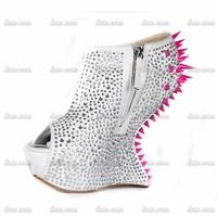2015 New Arrival Handmade Crystal Spring High Heeled Shoes Ankle Strap High Up Platforms Open Toe Summer Shose Wedding Wedges