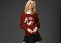 Free shipping 2014 fashion and hot sale new women Lips diamond knit base shirt hedging thin wool shirt collar sweater outerwear