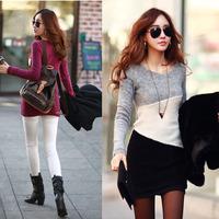 Feitong 2015 Fashion Women Slim Bottoming Hit color Autumn Waist Sweater Mini Dress  Wholesales