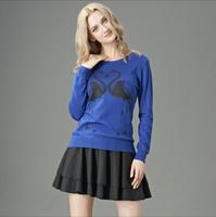 Free shipping 2014 fashion and hot sale new women Double-Crane printing base shirt hedging slim thin wool shirt collar sweater