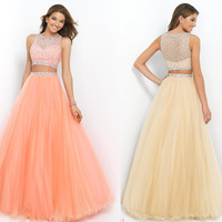 2015 Bateau Beaded Bodice A Line/Princess Prom Dresses Pick Up Tulle Skirt Floor Length High Quality  In Stock ( Size 2-16)
