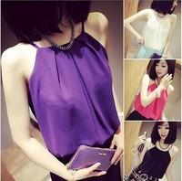 2014 Women Shirt Summer Fashion Sleeveless Spagetti Strap Vest Tops Sexy Off Shoulder Chiffon Blouse 4 Colors S-XL
