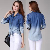 2015 Autumn Fashionable Long Sleeve Camisa Jeans Shirt Women Denim Shirt Desigual Blue Gradient Buttons Patchwork Casual Shirt