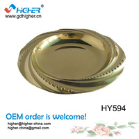 "HY594 (12"")  Cheap Wholesale Wedding Gold Stainless Steel Charger Plates"