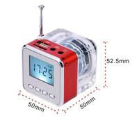 30 units/lote,NiZHi TT028 transparente mini altavoz con radio FM pantalla led, Micro SD / TF del disco del USB altavoz MP3 / mp4