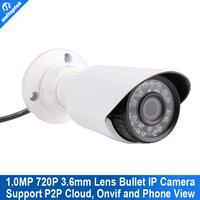 2015 New H.264 720P 1.0Mega pixels Mini bullet IP Camera ir 15m Securiy 1280*720 Waterproof outdoor Network CCTV Camera
