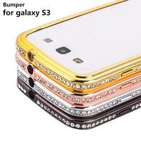Luxury Rhinestone Crystal Case Bumper Phone Cases Diamond Metal Aluminum Bumper Frame For Samsung Galaxy S3 I9300 Phone Cases