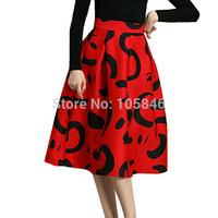 2015 New Arrival Spring Autumn European Trend High Fashion Women High Waist Graffiti Print Thick Black Red Mid-Calf Long Skirt