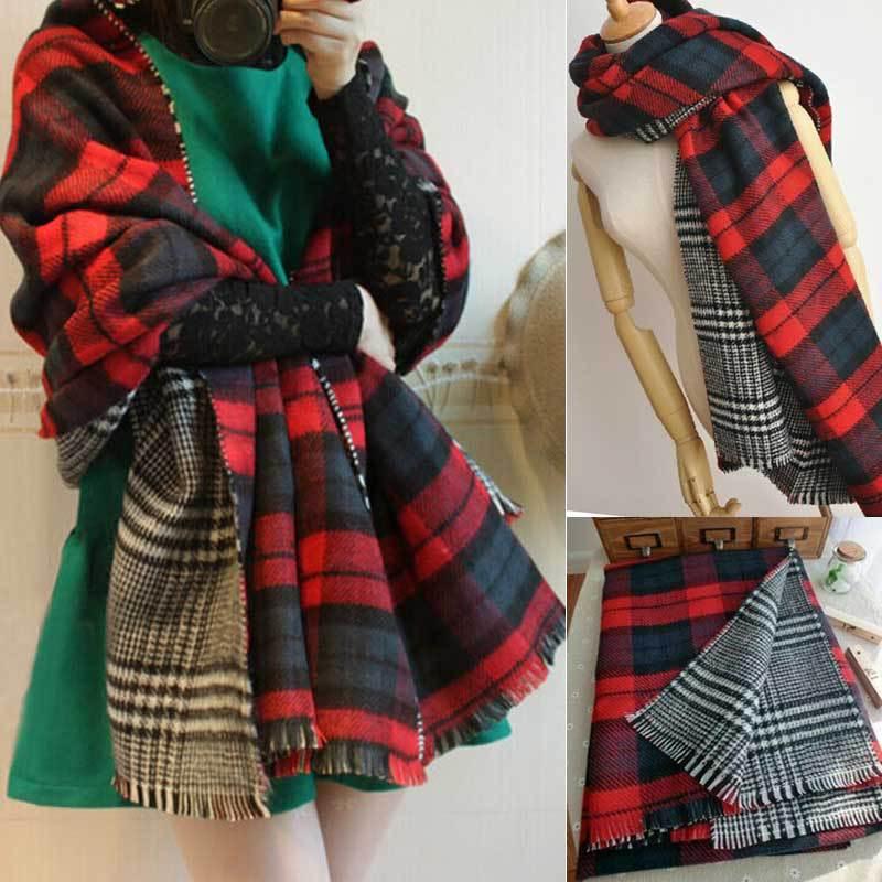 2014 Fashion Autumn Winter For Women Lady Neck Warm Check Plaid Scottish Reversible Shawl Double-sided Soft Scarf Wrap Stole(China (Mainland))