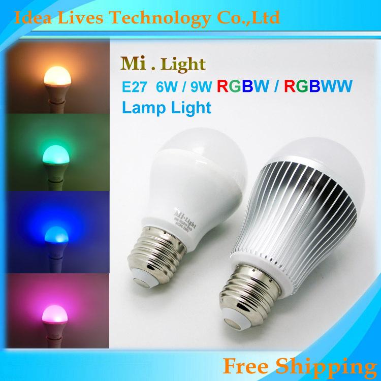 Mi Light 2.4G AC86-260V E27 6W 9W Wifi RGBW LED Lamp Wireless Brightness color Temperature Dimmable LED Bulb,1pcs/lot(China (Mainland))