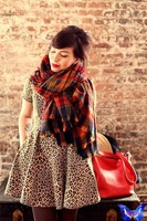 bufanda manta cuadros 2014 Winter Women Scarves Imitation Cashmere Orange Red Plaid Scarf Shawl Oversize 200*80 CM