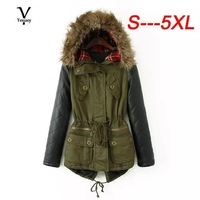 New S-5XL 2014 Clothing Winter Women Parka Casual Army Green Contrast PU Leather Faux Fur Hooded Female Coat