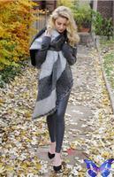bufanda manta cuadros 2014 Winter Women Scarves Imitation Cashmere Bevel Unedged Plaid Scarf Shawl Oversize 200 * 70 Cm