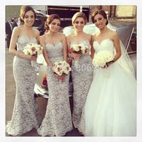 Elegant New Gray Lace Bridesmaid Dresses Long 2015 Formal Sweetheart Mermaid Bridesmaid Gown Custom all US Size H512