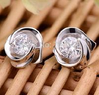 FD1197 Silver Plated Crystal Rhinestones Gem Rose White Sapphire Earring Stud