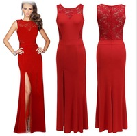 Floor-Length Lace Chiffon Long Evening Dress Gown 2014 New Fashion Formal Dresses Free Shipping