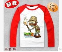 Children's clothes Plants vs zombies long-sleeve t-shirt fashion multicolour plants vs . zoombies 2 T-Shirt