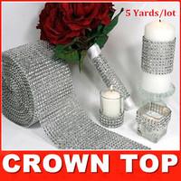 """Wedding decoration 4.75""""x 5 Yards Silver DIAMOND MESH WRAP ROLL SPARKLE RHINESTONE Crystal Ribbon"""