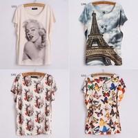 [Magic] new 15models colors batwing sleeve t shirt women Animal/lady/cartoon/skull print tees loose thin casual tshirts