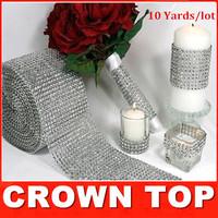 "Wedding decoration 4.75""x 10 Yards Silver DIAMOND MESH WRAP ROLL SPARKLE RHINESTONE Crystal Ribbon free shipping"