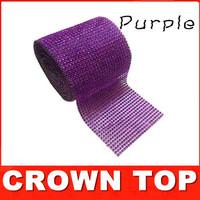 "Free shipping 4.75""x 5 Yards Wedding decoration Purple Crystal Ribbon Christmas decorations Wrap/ ribbon"
