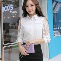 Korean Fashion Clothing Elegant Ladies Office Lace Top Female Long Sleeve Chiffon Shirt White Plus Size Women Blouses 2014(2145)