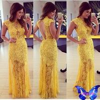 2014 New Women Clothes Lace Crochet Dress Beautiful Vestido Amarelo De Renda Sleeveless Sexy Backless Yellow Lace Maxi Dress