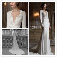 fashion elegant white long sleeve see through lace brush train  for winter bridal gown RT-0255 plus size wedding dress 2014