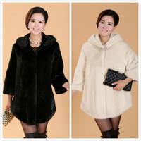 New 2014 Luxury faux Mink fur coat Women winter coat Fashion Single Button lady Overcoat Elegant Hooded Fur Collar Women Jacket