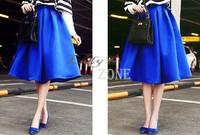 2014 Retro Long High Waist Skirt Women Elegant All-Match Swing Skirts Black&Blue Mid-Calf Satin Vintage Skirts S-L b9 CB032903