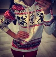 Autumn 2014 Sport Casual Christmas Pattern Pullover Printed Sweatshirt Women Hoody Fleece Warm Long Sleeve Hoodies Tracksuit Cap