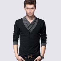 2014 new autumn Men's long-sleeve black T-shirt V-neck mens clothing famous brand cotton casual slim fit t shirts M-2XL SIZE